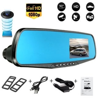 1080P HD Rearview Mirror Night Vision Car DVR Dash Cam Car Video Recorder - black