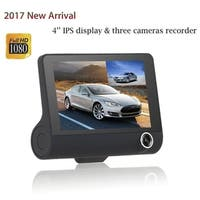 "4"" 1080P HD 170°3 Lens Car DVR Dash Cam G-sensor Recorder + Rearview Camera - Black"