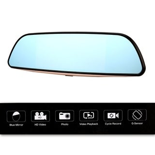 "7"" HD 1080P Smart Car DVR Rearview Mirror Dash Camera Dual Lens 3G WIFI GPS - black"