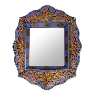 Novica Blue Pretty In Blue Reverse Painted Glass Mirror - Peru
