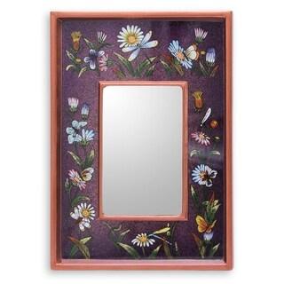 Novica Purple Purple Meadow Reverse Painted Glass Mirror - Peru - Multi - N/A
