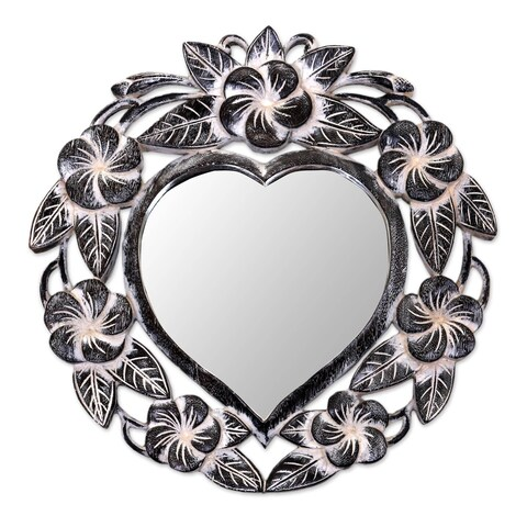 Novica Black Black Frangipani Heart Wall Mirror - Indonesia