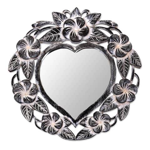 Handmade Black Frangipani Heart Mirror (Indonesia)
