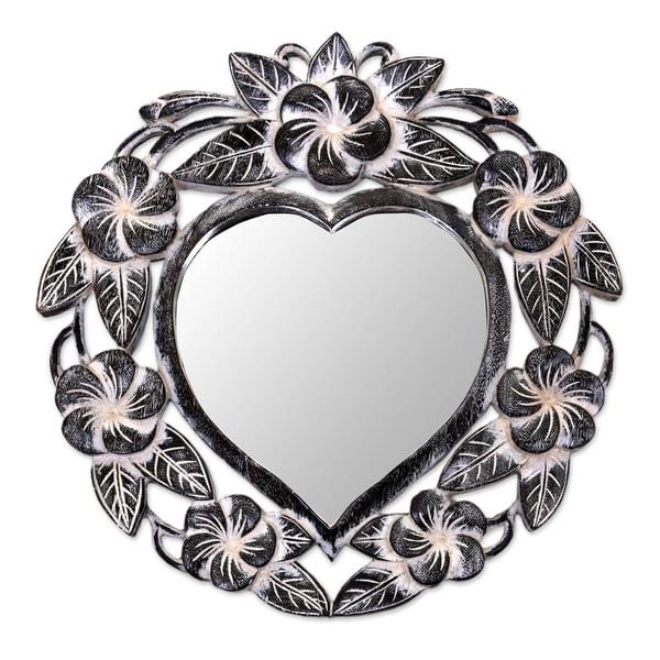Handmade Black Frangipani Heart Mirror (Indonesia). Opens flyout.