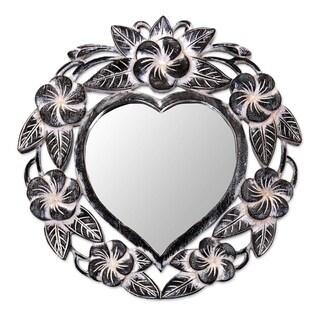 Novica Black Black Frangipani Heart Wall Mirror - Indonesia - Black/Grey