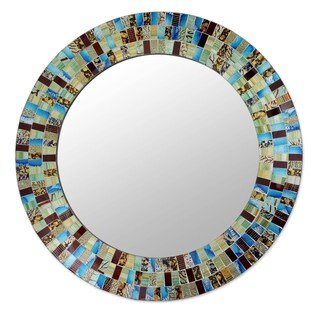 Novica Blue Retro Dance Glass Mosaic Mirror - India - Multi