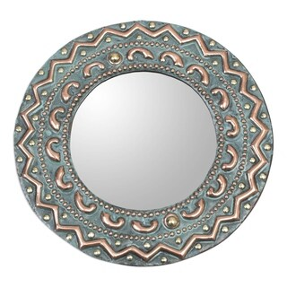 Handmade Copper And Bronze Colonial Sun Mirror (Peru) - Green
