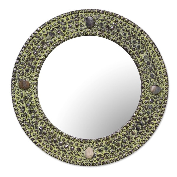 Novica Green Antique Magnificence Aluminum Mirror - India
