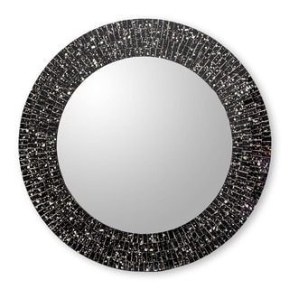 Handmade Black Cosmos Glass Mosaic Mirror (India)