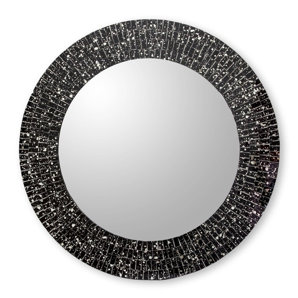 Novica Black Round Black Cosmos Glass Mosaic Wall Mirror - India
