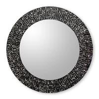 Novica Black Round Black Cosmos Glass Mosaic Wall Mirror - India