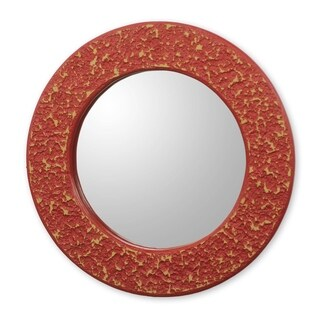 Novica Orange Cape Coast Crimson Wall Mirror - Ghana - Red
