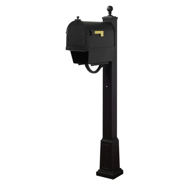 Special Lite Products Berkshire Curbside Mailbox with Newspaper Tube and Springfield Mailbox Post with Base