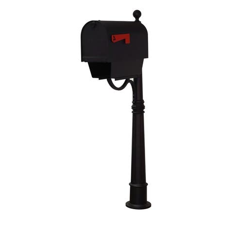 Special Lite Products Titan Aluminum Curbside Mailbox with Newspaper Tube and Ashland Mailbox Post