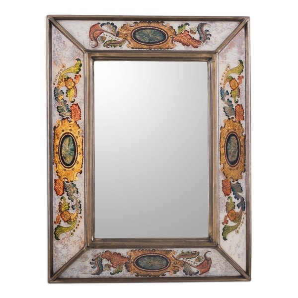 Handmade Ivory Floral Medallions Reverse Painted Glass Wall Mirror (Peru) - Multi