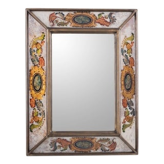 Novica Ivory Floral Medallions Reverse Painted Glass Wall Mirror - Peru - Multi
