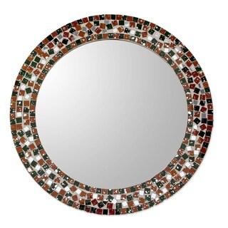 Novica Green Forest Mosaic Glass Mosaic Wall Mirror - India - Orange