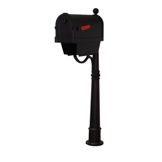 Special Lite Products Savannah Curbside Mailbox with Newspaper Tube and Ashland Mailbox Post