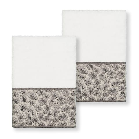 Authentic Hotel and Spa Turkish Cotton Cheetah Jacquard Trim White 2-piece Washcloth Set