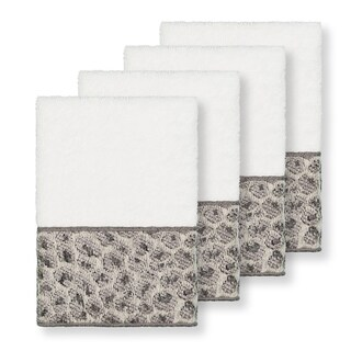 Authentic Hotel and Spa Turkish Cotton Cheetah Jacquard Trim White 4-piece Washcloth Set