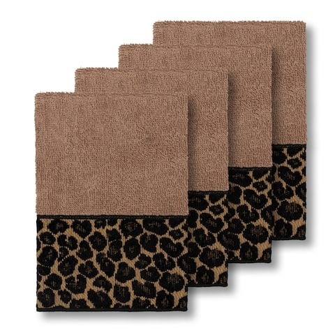 Authentic Hotel and Spa Turkish Cotton Cheetah Jacquard Trim Latte Brown 4-piece Washcloth Set