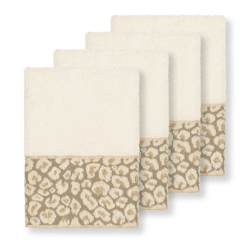 Authentic Hotel and Spa Turkish Cotton Cheetah Jacquard Trim Cream 4-piece Washcloth Set