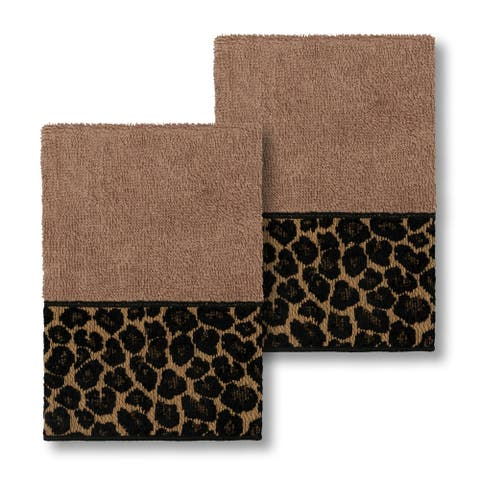 Authentic Hotel and Spa Turkish Cotton Cheetah Jacquard Trim Latte Brown 2-piece Washcloth Set