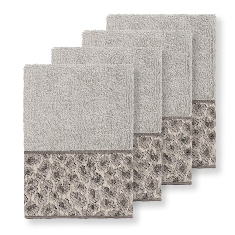 Authentic Hotel and Spa Turkish Cotton Cheetah Jacquard Trim Light Grey 4-piece Washcloth Set