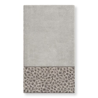 Authentic Hotel and Spa Turkish Cotton Cheetah Jacquard Trim Light Grey Bath Towel