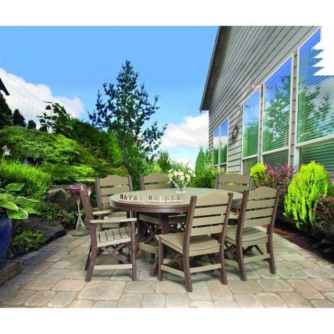 """Outdoor Dining Set - 60"""" Oval Table with 2 Ladderback Arm Chairs and 4 Ladderback Side Chairs"""