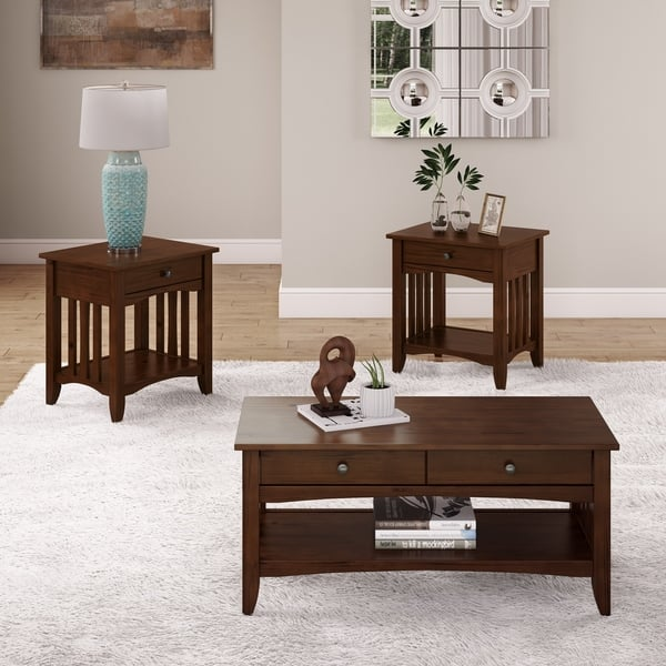 Copper Grove Vaghar Solid Wood Coffee Table And 2 End