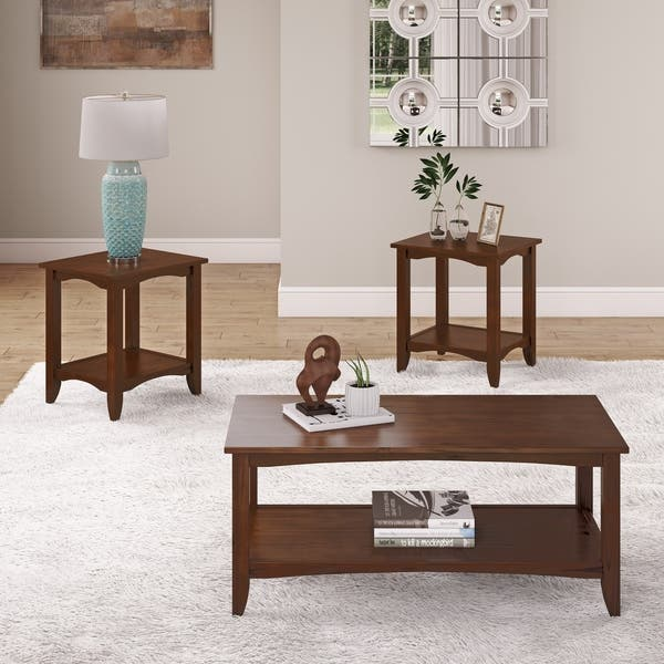 Copper Grove Abovyan 2 Tiered Solid Wood Coffee Table
