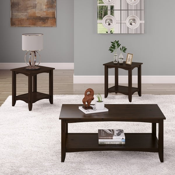 Solid Wood Coffee And End Tables For Sale: Shop Cambridge Two-Tiered Solid Wood Coffee Table And 2pc