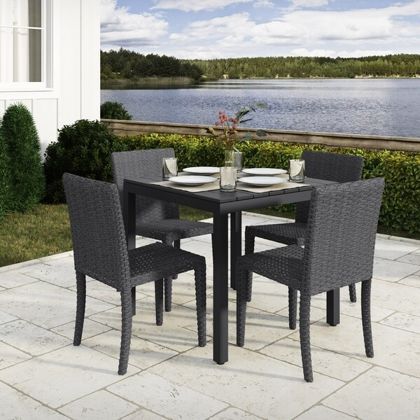 5pc Weather Resistant Outdoor Square Dining Set
