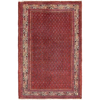 Hand Knotted Botemir Semi Antique Wool Area Rug - 4' 3 x 6' 7