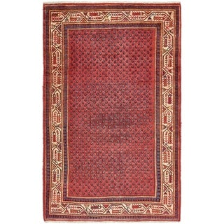 Hand Knotted Botemir Semi Antique Wool Area Rug - 4' 3 x 6' 10