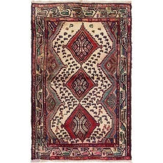 Hand Knotted Chenar Semi Antique Wool Area Rug - 3' 3 x 5' 6