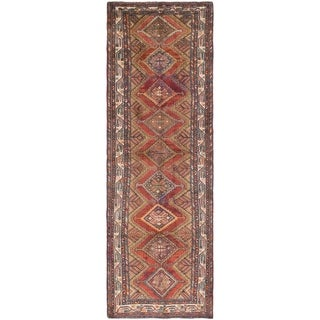Hand Knotted Chenar Semi Antique Wool Runner Rug - 3' 7 x 11'