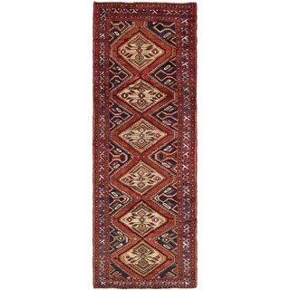 Hand Knotted Chenar Semi Antique Wool Runner Rug - 3' 4 x 9' 7