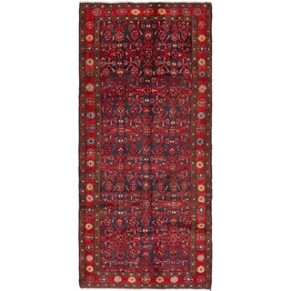 Hand Knotted Farahan Semi Antique Wool Runner Rug - 3' 8 x 8'