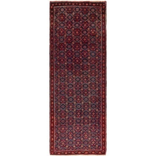 Hand Knotted Farahan Semi Antique Wool Runner Rug - 4' 3 x 12' 3