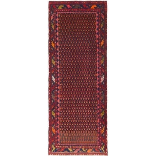 Hand Knotted Farahan Antique Wool Runner Rug - 3' 8 x 9' 8