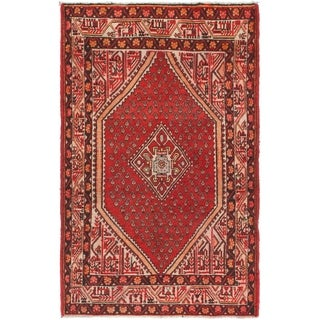 Hand Knotted Farahan Semi Antique Wool Area Rug - 4' x 6' 7