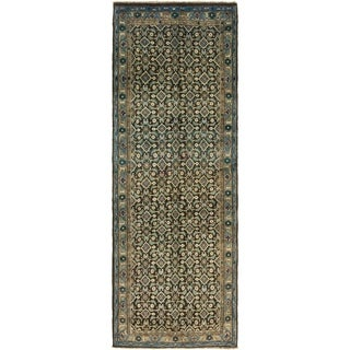 Hand Knotted Farahan Semi Antique Wool Runner Rug - 3' 7 x 10' 2
