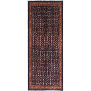 Hand Knotted Farahan Semi Antique Wool Runner Rug - 4' x 10' 10