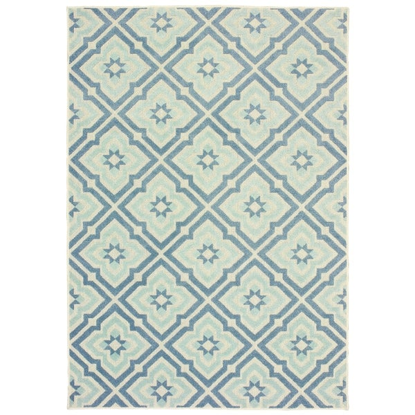 "Rectangle Rug/ Barbados 7 Ft.10 In. X 10 Ft. 0 In./ Outdoor/ Geometric - 7'10"" x 10'"