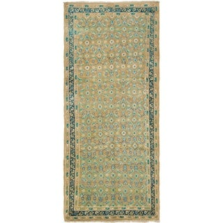 Hand Knotted Farahan Semi Antique Wool Runner Rug - 4' x 9' 2