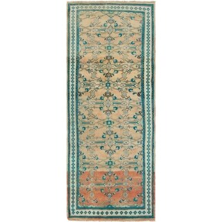 Hand Knotted Farahan Semi Antique Wool Runner Rug - 3' 7 x 9' 10