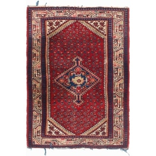 Hand Knotted Farahan Semi Antique Wool Area Rug - 3' 5 x 4' 10