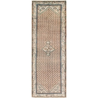 Hand Knotted Farahan Antique Wool Runner Rug - 3' 6 x 10' 4